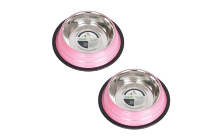Iconic Pet 51463 64 oz. Color Splash Stripe Non-Skid Pet Bowl - Pink b03d17eb-a57a-41fe-9692-1b410de1e64c