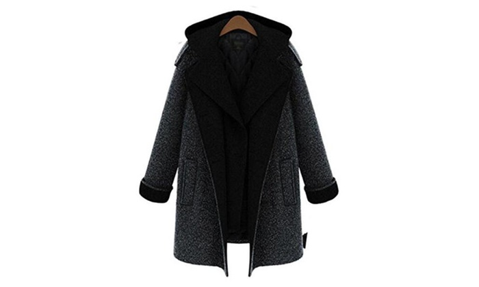 Women's Fashion Fake Two Pieces Outerwear Long Jacket Wool Coat