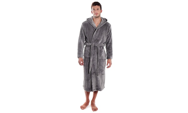 choose clearance clear and distinctive big discount Men's Plush Warm Long Hooded Bathrobe Kimono Robe, Grey
