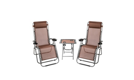 3 PCS Zero Gravity Chair Patio Chaise Lounge Chairs Table Chair Set Recliner