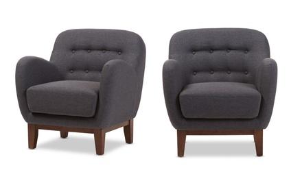 Sophia Retro-Modern Button-Tufted Upholstered Armchair
