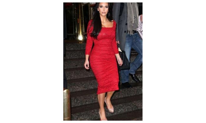 Women's Square Collar Bodycon Knee Length Pencil Dress – KMWD133