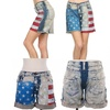 American Flag Vintage Wash Boyfriend Shorts Stars Stripes High Waist