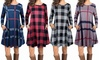 Women's Long Sleeve Striped/Plaid Dress with Pockets