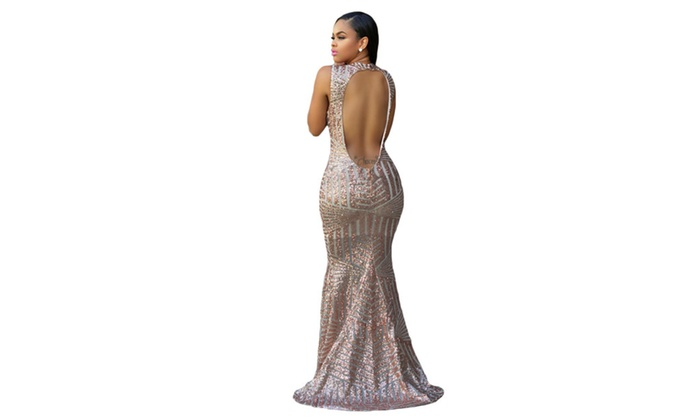 Women's Blush Sequins Keyhole Back Party Gown