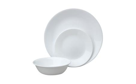 Corelle Livingware 12 Piece Dinnerware Set, Winter Frost White