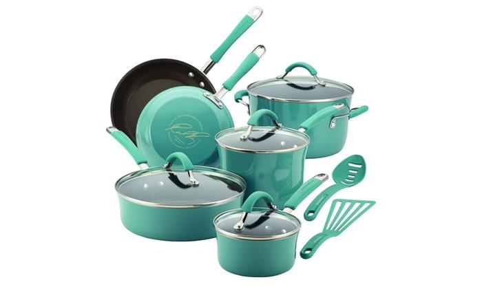 Rachael Ray Cucina Hard Enamel 12 Pc Cookware Set Groupon