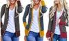 Women Striped Open Front Long Sleeve Cardigan Jacket Outerwear