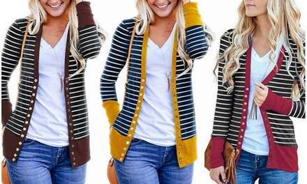 Women Button Down Striped Long Sleeve Knit Cardigan Jackets Slim Fit