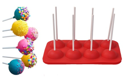 8 Cup Cake Silicone Baking Pop Guide Flex Pan Mold With Sticks c21e3dcc-f3ee-429f-82d8-97835083bf54
