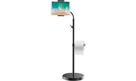 JETech Floor Stand Height-Adjustable Gooseneck with Toilet Paper Roll Holder