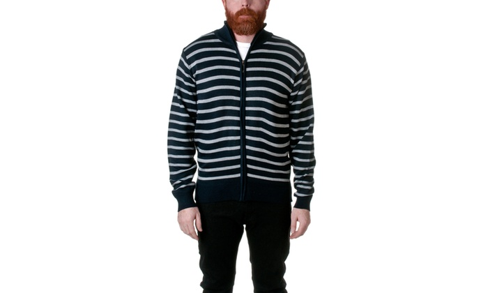 Republic Striped Full Zip Mock Neck Sweater SUPER8614-2