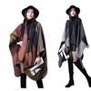 Women's Winter Reversible Oversized Blanket Poncho Cape Shawl Cardigan