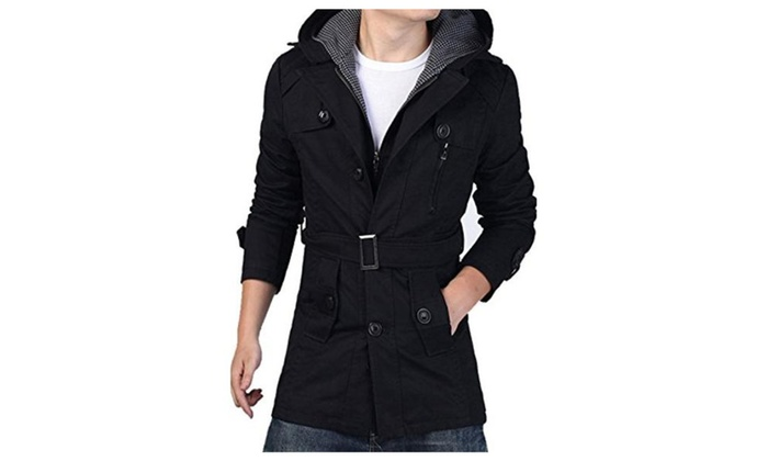 Men's Cotton Jacket Gingham Lined Hoody Layered Jacket With Belt