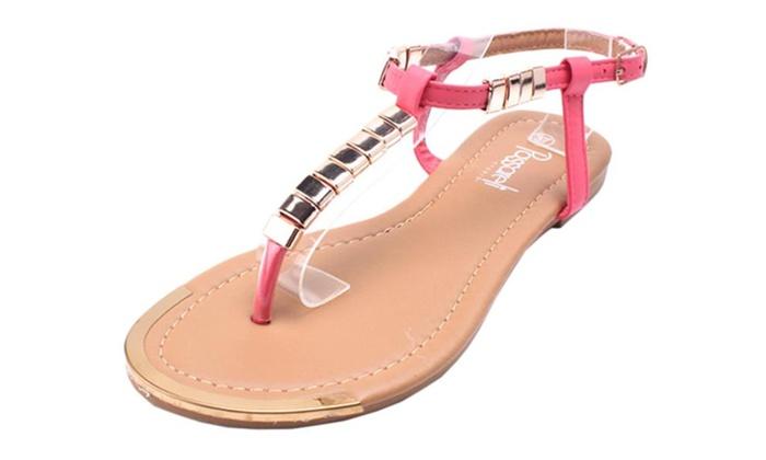 Women's Glitter Studs T-Strap Thong Sandal Flat