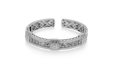1/4cttw Diamond Filgree Bangle in Rhodium over Sterling Silver 271205fd-cc48-48be-8858-dde26c3ae8c3