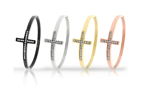 Closeout: 18K Gold Plated Sideways Cross Bangles by Relex c6c577e0-9828-4c86-a952-ca7ad70ec571