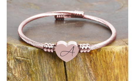 Rose Gold Plated Stainless Steel Heart Cable Initial Bangles By Pink Box