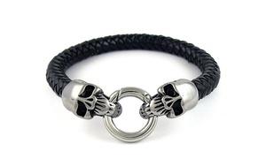 Men's Genuine Leather Skull Buckle Bracelet