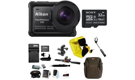 Nikon KeyMission 170 Wi-Fi 4K Action Camera w/ 32GB SD Card & Bike Accessory Kit
