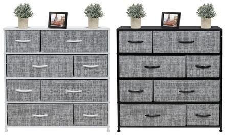 Sorbus 8 Drawers Dresser - Furniture Storage Chest Organizer Bedroom Unit - Gray