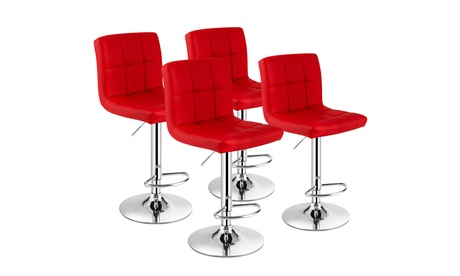 Costway Set of 4 PU Leather Bar Stool Swivel Bar Chair w/ Adjustable Height Red