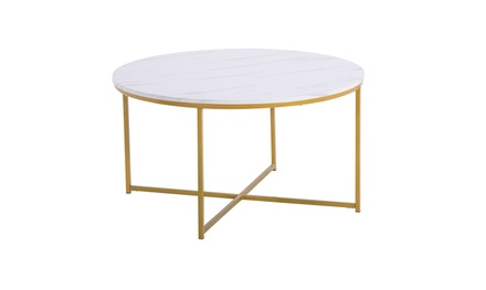 Furniture Company Modern Round Coffee Accent Table Living Room, Marble/Gold