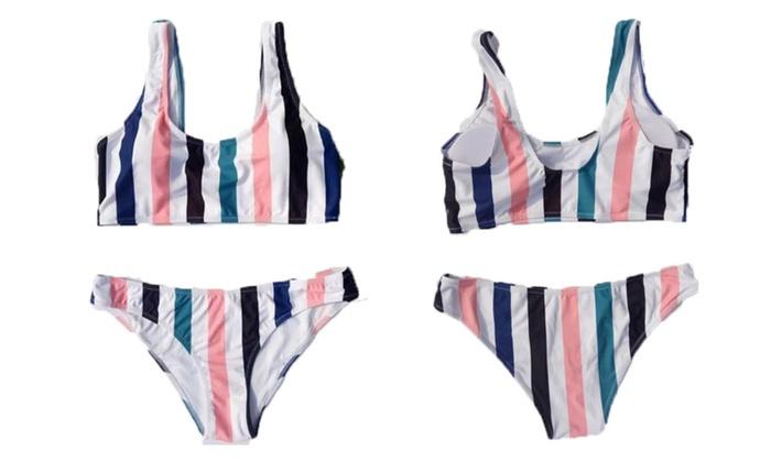 Multicolor Stripes Bikini Set