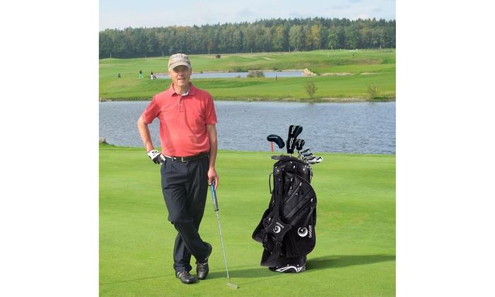 6e94441384 Hyper Lite Golf Stand Cart Bag 6 Way Divider w/Shoulder Strap & Rain Cover  Black