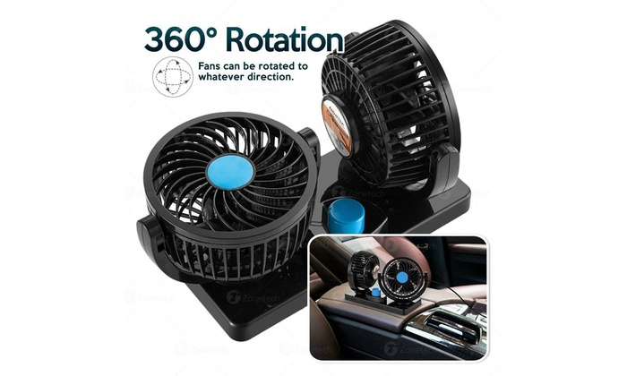 Zone Tech 12V Dual Head Car Cooling Oscillating Dashboard Ventilation Air Fan