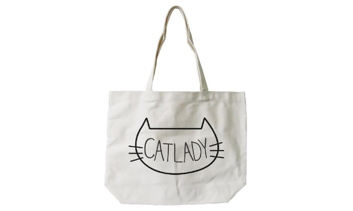 Cat Lady Natural Canvas Tote Bag- 100% Cotton 18.5x14.25 Inches