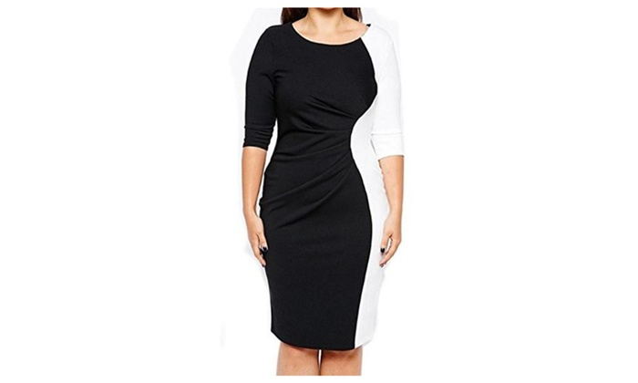Women's White Black Plus Pencil Bodycon Bandage Cocktail Dress 3XL 4XL