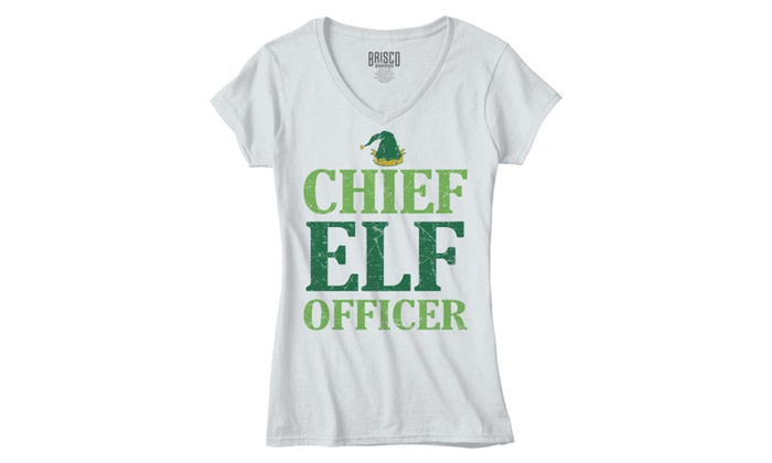 Funny Christmas Chief Elf Officer Santa Hat - Junior Fitted V-Neck T-Shirt