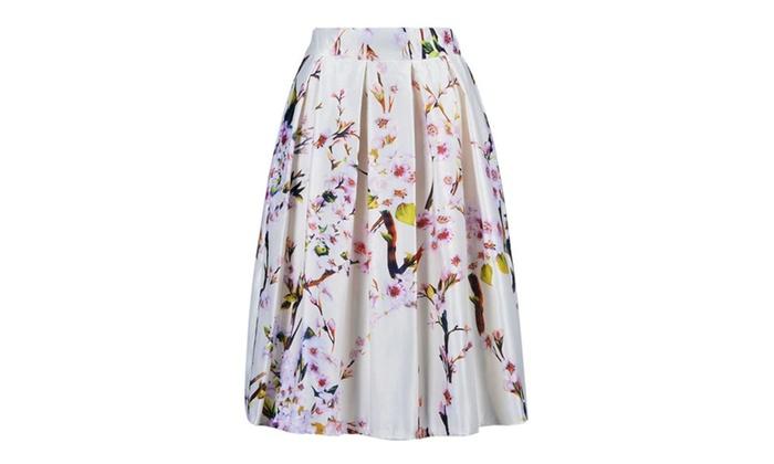 Women's Black/Green/White/Blue Sakura Skater Skirt With Pleat