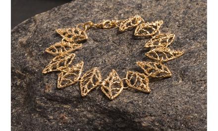 Floral Petal Hand-casting Gold Plated Bracelet