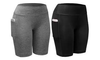 2-Pack Women High Waist Workout Yoga Side Pocket Compression Cycling Shorts