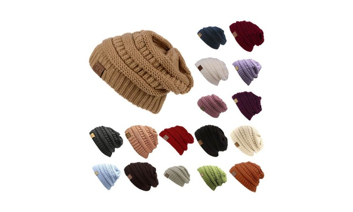 777e91f0ce3 Slouch Bubble Knit Cap Oversize Caps Baggy Ski Winter Men Women Hat ...