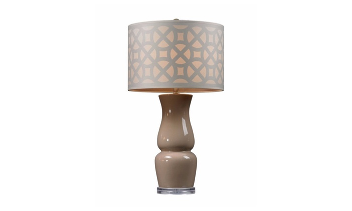 Dimond Lighting Gloss Ceramic Table Lamp in Taupe With Off White Shade