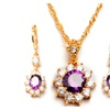 Zircon Crystal Flower Earrings Women's Necklaces Jewelry Set