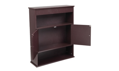 FCH Two-door Bathroom Cabinet with Upper and Lower Layers Brown