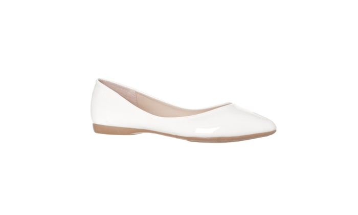Riverberry 'Ella' Pointed Toe Ballet Flat Slip On, White Patent