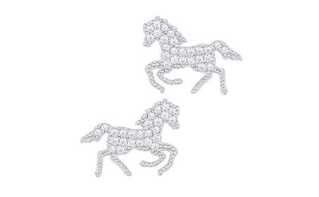 18k White Gold Plated Cubic Horse Stud Earrings by Orrous & Co