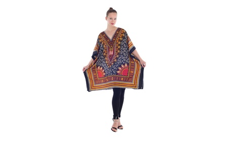 Women's Plus Size Top Bohemian Ethnic Style Loose Casual Tunic Dress - Black and Red