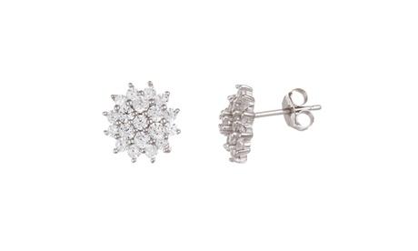 Sterling Silver CZ Flower Post Earrings 9d691b4f-b8be-4ffa-b4a9-ed2829a5c60b