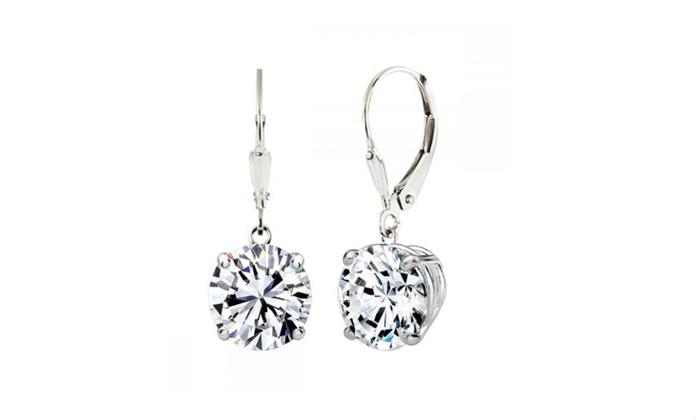 86f5c6532 Sterling Silver 2.50 CTTW Swarovski Elements Crystal Drop Earrings ...