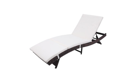 Outdoor Chaise Lounge Chair Adjustable Wicker Chaise Lounge