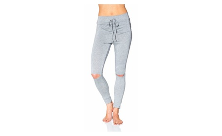Women's Elastic Drawstring Fitted Jogger Pants with Knee Slit P2444 c181b76a-981c-4cbb-b0be-18c81153bd44