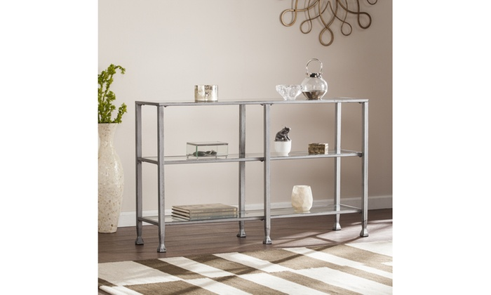 ... Jaymes 3 Tier Silver Tone Metal And Glass Console Table Or Media Stand