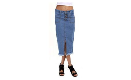 QZUnique Women's Stretched Slit Denim A-Line Jeans Skirt 727a9bbf-c1a1-460f-b954-d3037045ecf6