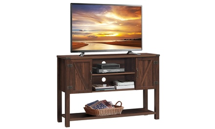 Costway Barn Door TV Stand Console Sideboard Buffet for TVs Up to 60''
